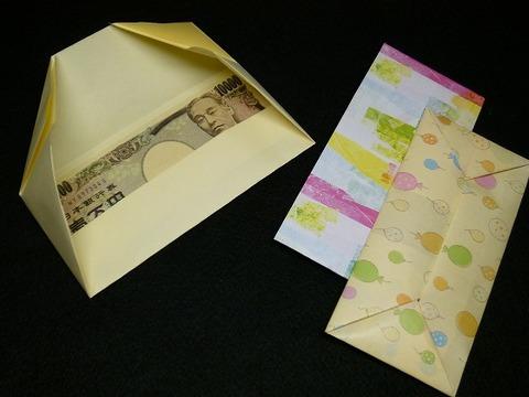 A4用紙でお札サイズの封筒折り