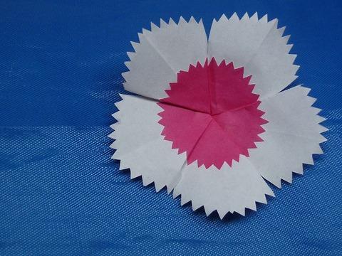 五角形折り紙でナデシコの花を切る