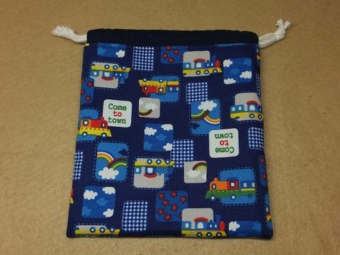 紐通し部分を別布で作る巾着(両側しぼり)